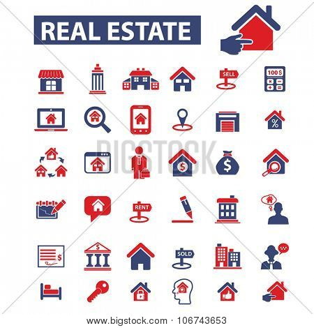 real estate, agent, agency, buildings icons, signs vector concept set for infographics, mobile, website