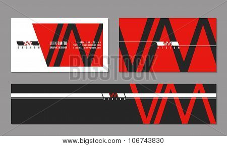 Vector corporate business card and banner with modern logo in minimalism style