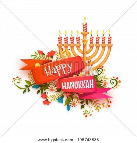 Happy hanukkah. Vector banner with ribbon and candles