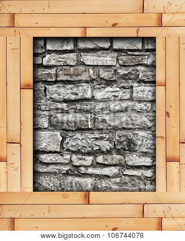 Stone Wall With Bamboo Frame