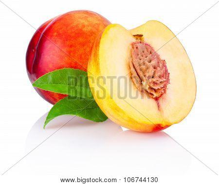 Two Nectarine Fruit Isolated On A White Background