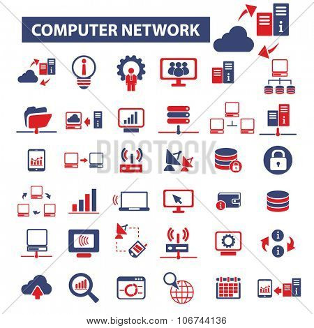 computer network, connection, hosting, database, pc icons, signs vector concept set for infographics, mobile, website