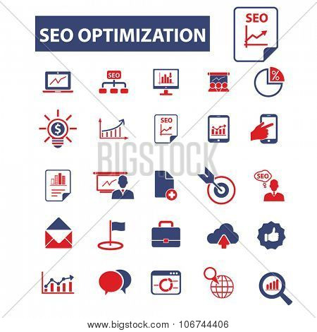 seo optimization icons, signs vector concept set for infographics, mobile, website
