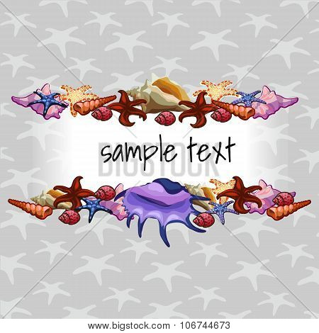 Creatures of sea clams on a background with star