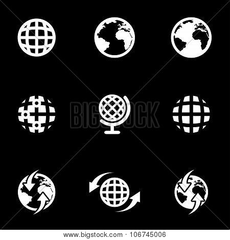 Vector White World Map Icon Set