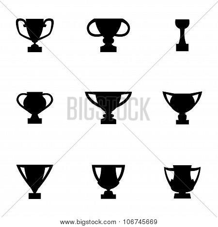 Vector Black Trophy Icon Set