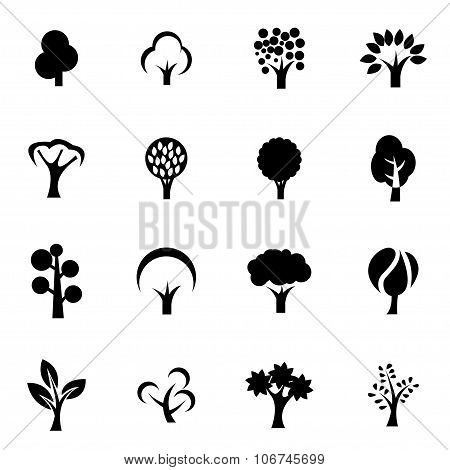 Vector Black Trees Icon Set