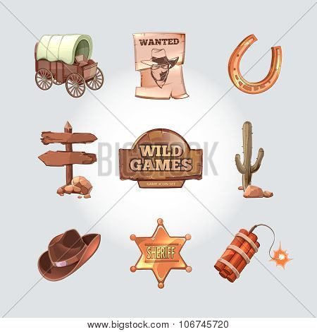 Vector icons for Wild West computer game. Cowboy objects in cartoon design style
