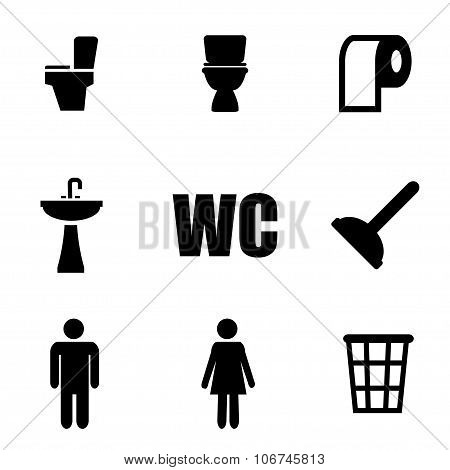 Vector Black Toilet Icon Set
