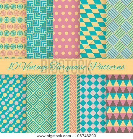 10 Vintage turquiose seamless patterns. Vector illustration. End