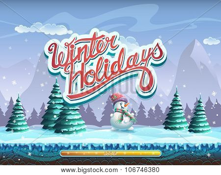 Winter Holidays Snowman Boot Screen Window For The Computer Game