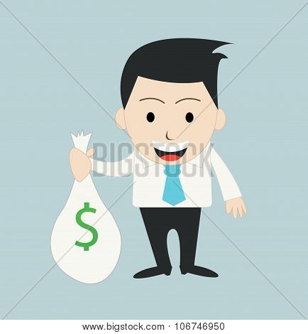 funny cartoon office businessman vector illustration art
