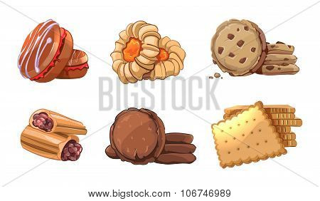 Cookies vector icons set in cartoon style