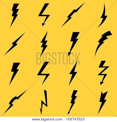 Lightning black vector icons set