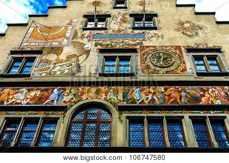 The artistically painted town hall in Lindau, built 1422-36, on the Bavarian shores of Lake Constanc