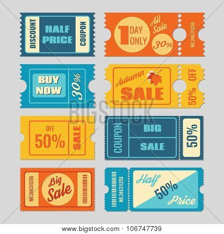 Discount coupon, sale tickets vector set