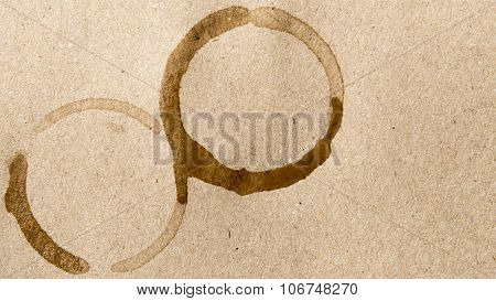 coffee cup stain on a brown background