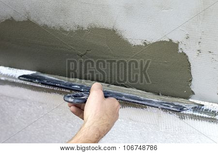Plastered Walls With A Spatula