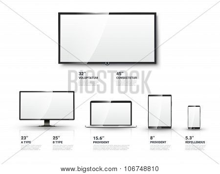 Realistic TV screen, Lcd monitor, laptop, tablet, mobile phone vector templates set