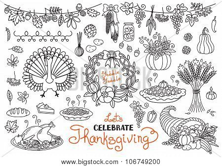 Let's celebrate Thanksgiving Day doodles set. Traditional symbols - thanksgiving turkey, pumpkin pie