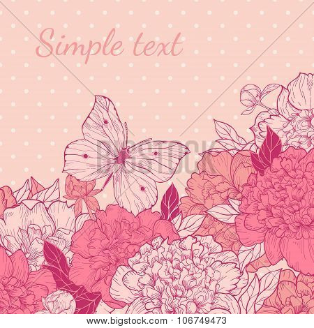 Card With Peony And Butterfly