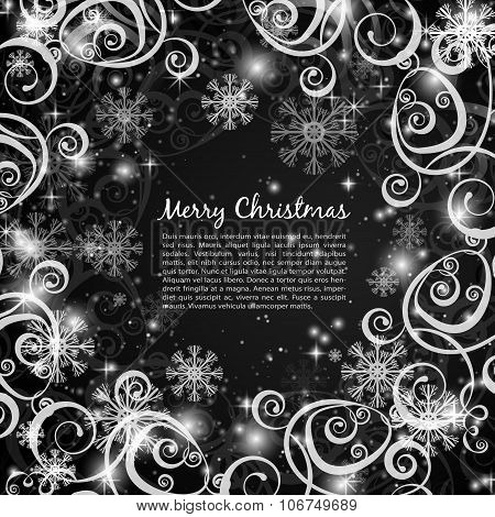 Elegant Christmas Black And White Background