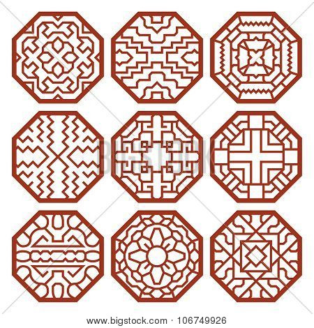 Korean traditional vector patterns, ornaments and symbols