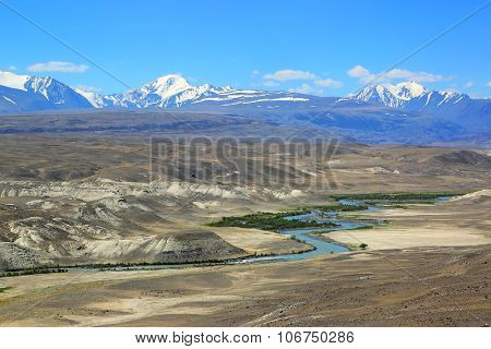 Chuya River Valley landscape in the Altai Mountains