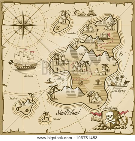 Treasure island vector map in hand drawn style