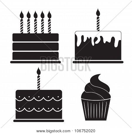 Birthday Cake Silhouette Set Vector Illustration