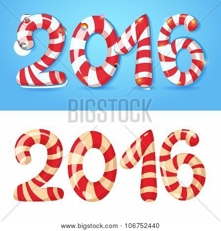 2016 New Year Numbers, Congratulations Card With Cartoon Figures Isolated