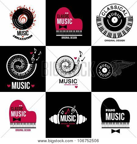 Set Collection of music logos and emblems.