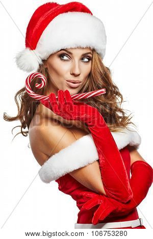 beautiful sexy girl with christmas gifts
