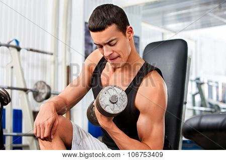 Man working his arms with dumbbells at gym. He lifting dumbbells.