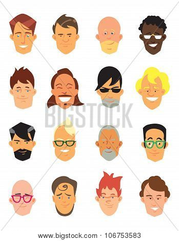 People icon. People icon isolated on white background. People avatar. Flat line icons of people. People flat icons collection. Man characters. People profile. Man avatar. Vector icon man. Man profile. Avatar.