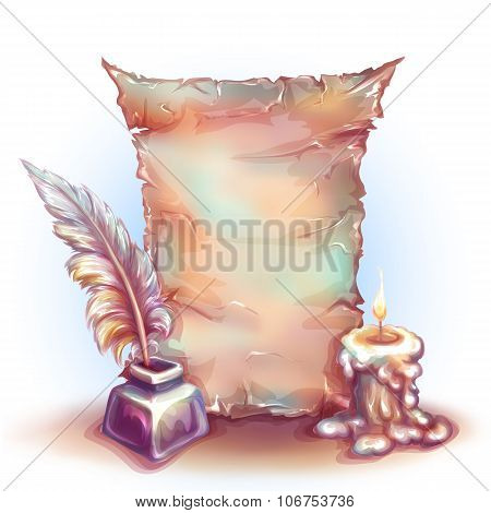 Vector banner with candle, money and feather