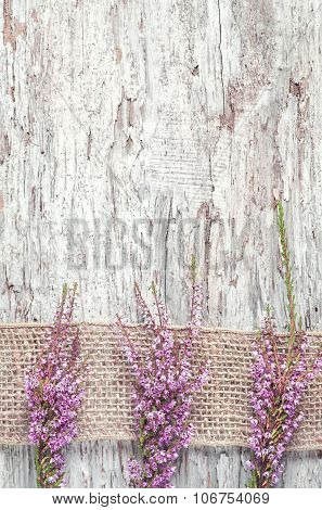 Heather On The Old Wooden Background
