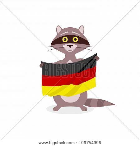 Raccoon And Flag Germany