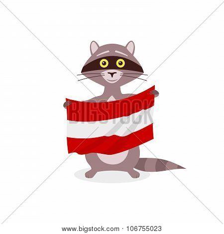 Raccoon And Flag Austria
