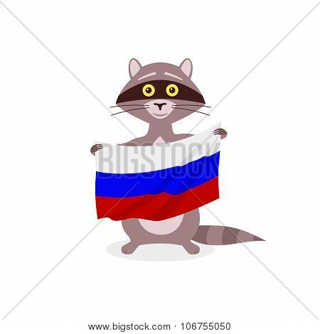 Raccoon And Flag Russia