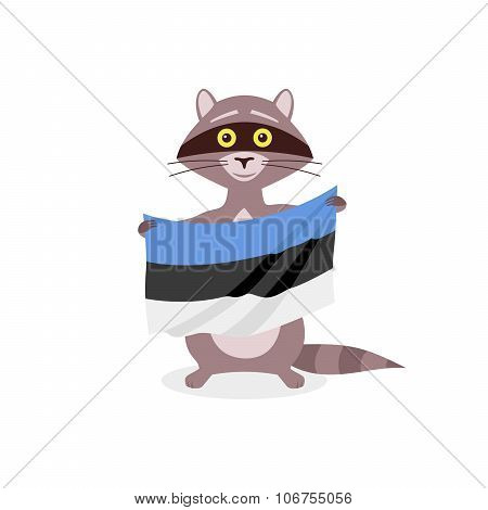 Raccoon And Flag Estonia