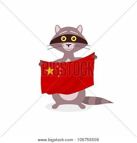 Raccoon And Flag China