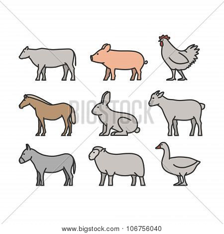 Painted Outline Figures Of Farm Animals
