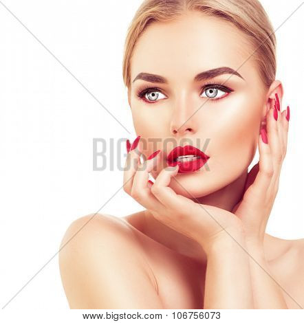 Beautiful fashion model Woman with blond hair, Red lipstick and nails. Portrait of glamour girl with bright makeup isolated on white background. Beauty female face close up with perfect make up