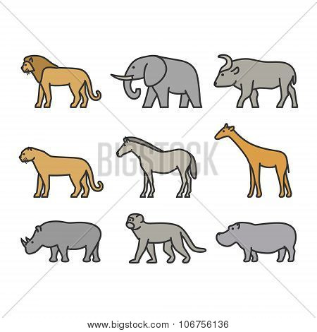 Painted Outline Figures Of African Animals