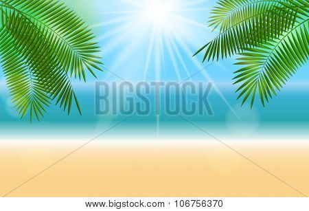 Summer Sunny Natural Background Vector Illustration