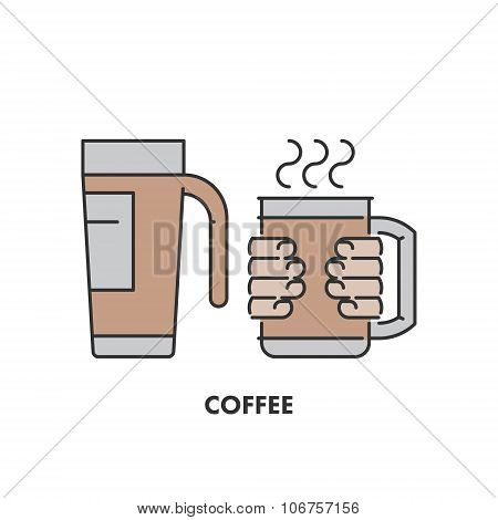 Line Icons Thermo Mug And Coffee In Color