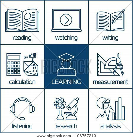 Vector linear icons of learning