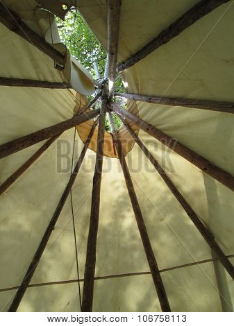View Inside A Indian Tipi