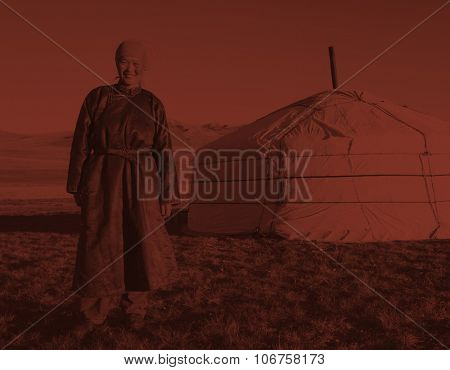Mongolian Woman Standing Tent Outdoors Tranquil Concept